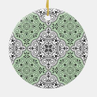 Grünes Rokoko-Muster blühen Keramik Ornament
