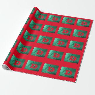 Grünes/rotes Monogramm Geschenkpapierrolle