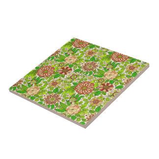 Grünes rotes u. beige Retro Blumen-Muster Kleine Quadratische Fliese