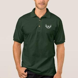 Grünes Rotwild-Geweihlogo des Jagdpolo-Shirts | Polo Shirt