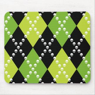 Grünes Schädel-Rauten-Motiv Mousepad