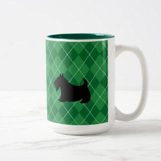 Grünes schottisches Terrier Scotty Zweifarbige Tasse