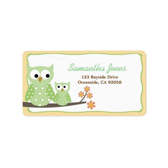 Grünes Schrei-Eulen-Babyparty-Adressen-Etikett Adressaufkleber