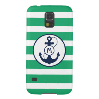Grünes Seeanker-Monogramm Samsung S5 Cover