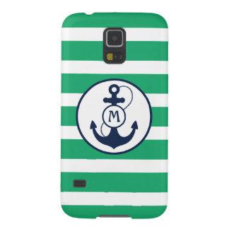 Grünes Seeanker-Monogramm Samsung S5 Hülle