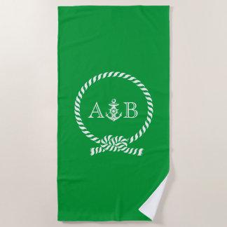 Grünes Seil und Anker mit Monogramm Strandtuch