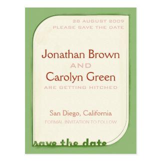 Grünes Shapeform Save the Date Postkarte