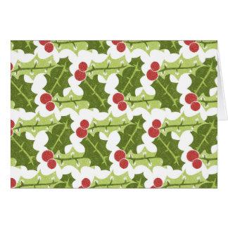 Grünes Stechpalmen-Blätter und rotes Beeren-Muster Karte