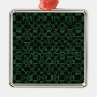 Grünes strukturiertes Quadratmuster Quadratisches Silberfarbenes Ornament