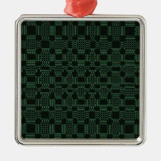 Grünes strukturiertes Quadratmuster Silbernes Ornament