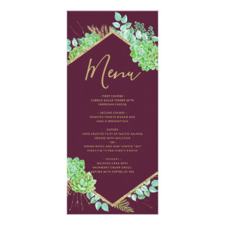 Grünes Succulents-Goldrahmen Marsala Werbekarte