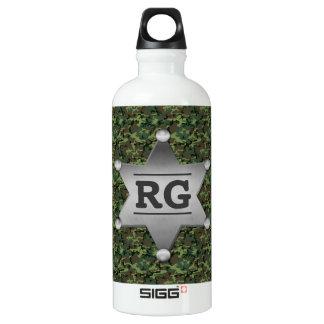 Grünes Tarnungs-Muster-Sheriff-Abzeichen-Monogramm Aluminiumwasserflasche