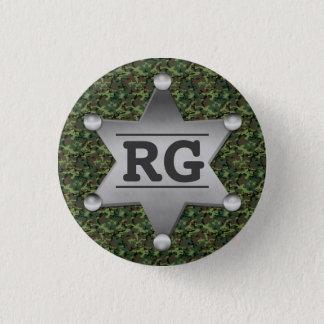 Grünes Tarnungs-Muster-Sheriff-Abzeichen-Monogramm Runder Button 3,2 Cm