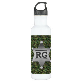 Grünes Tarnungs-Muster-Sheriff-Abzeichen-Monogramm Trinkflasche