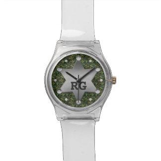 Grünes Tarnungs-Muster-Sheriff-Abzeichen-Monogramm Uhr