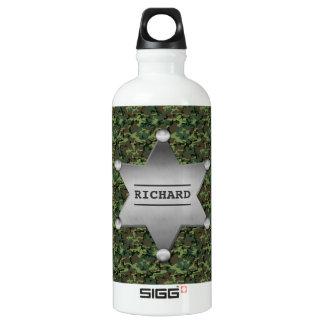 Grünes Tarnungs-Muster-Sheriff-Namen-Abzeichen Aluminiumwasserflasche