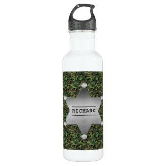 Grünes Tarnungs-Muster-Sheriff-Namen-Abzeichen Trinkflasche