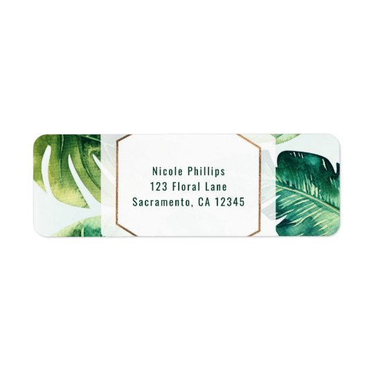 Grünes tropisches Blätter-weiße elegante Einladung