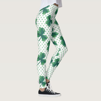 Grünes Tupfen-Muster des Klee-| Leggings