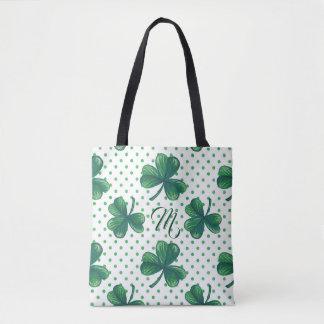 Grünes Tupfen-Muster-Monogramm des Klee-| Tasche