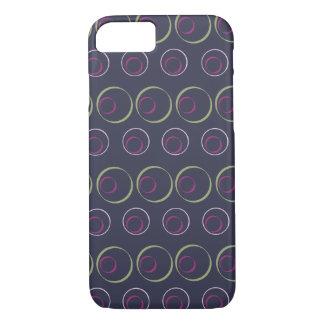 Grünes u. rosa Kreismuster auf grauem Hintergrund iPhone 7 Hülle