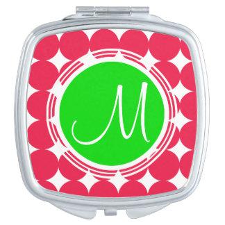 Grünes u. rotes Tupfen-Monogramm Taschenspiegel