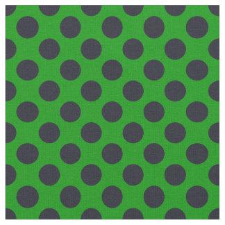 Grünes u. schwarzes Tupfen-Gewebe Stoff