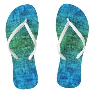 Grünes und blaues Steigungs-Beschaffenheits-Muster Flip Flops
