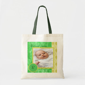 Grünes und gelbes Baby-Jungen-Foto Budget Stoffbeutel