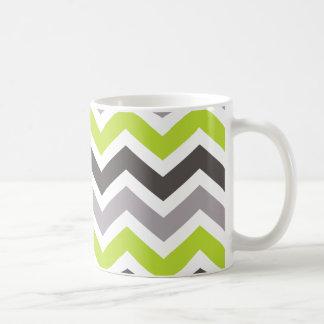 Grünes und graues Zickzack Kaffeetasse