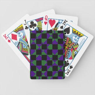Grünes und lila Rückkariertes Poker Karten