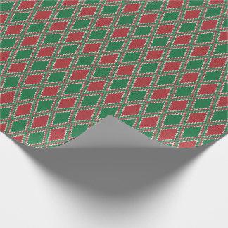 Grünes und rotes Diamant-Strick-Verpackungs-Papier Geschenkpapier