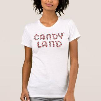 Grünes und rotes Süßigkeits-Land-Logo T-Shirt