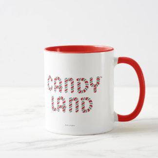 Grünes und rotes Süßigkeits-Land-Logo Tasse