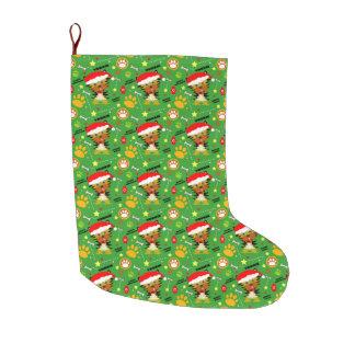 Grünes und rotes Weihnachten Yorkie Großer Weihnachtsstrumpf