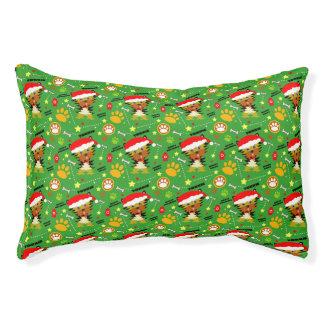 Grünes und rotes Weihnachten Yorkie Haustierbett