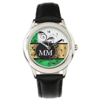 Grünes und schwarzes Monogramm auf Weiß Armbanduhr