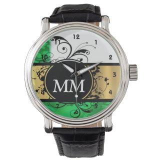 Grünes und schwarzes Monogramm auf Weiß Uhr