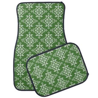 Grünes und weißes Damast-Muster-Set von 4 Auto Fussmatte