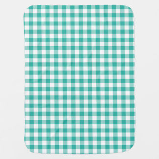Grünes und weißes Gingham-Karo-Muster Puckdecke