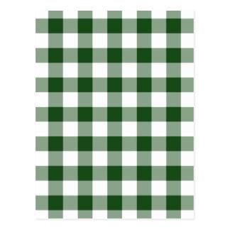 Grünes und weißes Gingham-Muster Postkarte