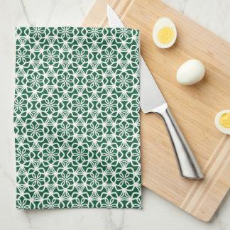 Grünes und weißes Schneeflocke-Spitze-Geschirrtuch Handtuch