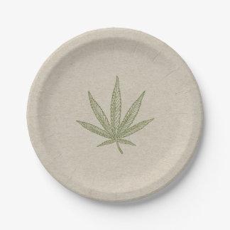 Grünes Unkraut-Blatt-botanisches natürliches Pappteller