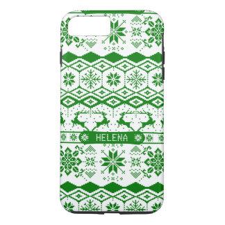 Grünes Weihnachten gestrickter Rüttler iPhone 7 Plus Hülle