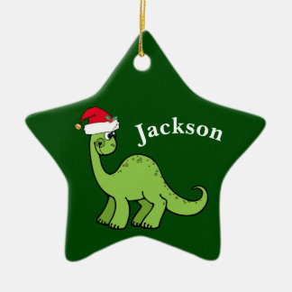 Grünes Weihnachten scherzt Dinosaurier Keramik Stern-Ornament