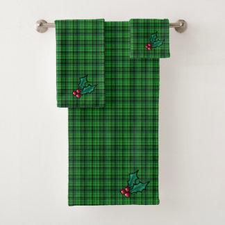 Grünes Weihnachtskariertes Tuch-Set Badhandtuch Set