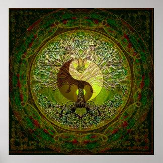 Grünes Yin Yang mit Baum des Lebens Poster