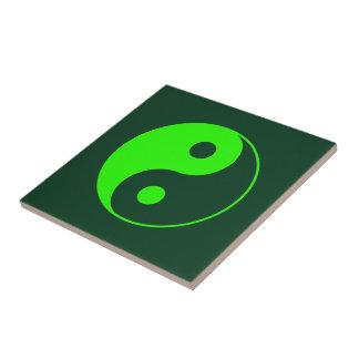 Grünes Yin Yang Symbol Kleine Quadratische Fliese