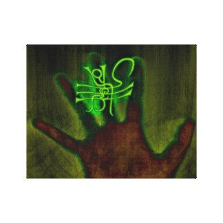 Grünes Zeichen/Glyph Leinwanddruck