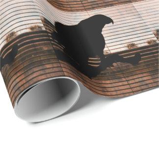 Grunge-afrikanisches Grau-Papageien-Silhouette Geschenkpapier